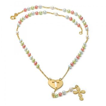 Gold Layered 09.02.0003.18 Thin Rosary, Heart and Cross Design, with Multicolor Mother of Pearl, Polished Finish, Golden Tone