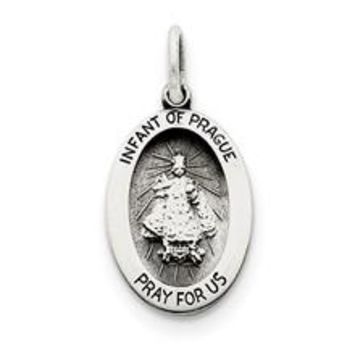 Antiqued Infant of Prague Medal, Delightful Charm in Sterling Silver
