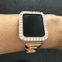Apple Watch 38mm 42mm Womens Mens Bezel Case Cover Series 2 3 Rose Gold Iced Out Pave 2mm Lab Diamond Rhinestone Crystal Iwatch Bling