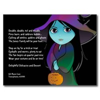 Lil' Witch in Rainbow Robe Halloween Invitation