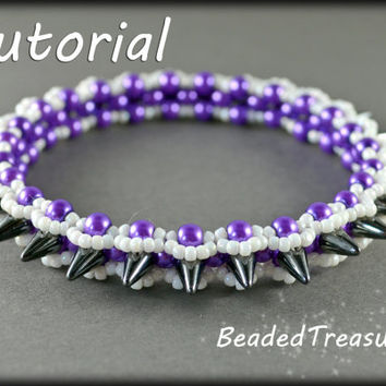 Graphite - beadweaving bracelet tutorial / Bangle pattern / Seed bead pattern / Spike beads pattern / TUTORIAL ONLY