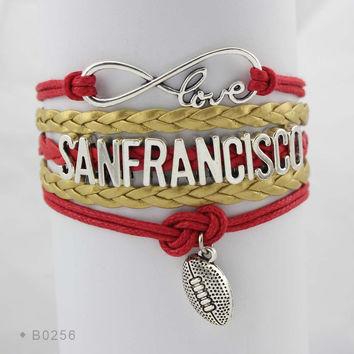 Infinity Love Football Bracelet - San Francisco Football