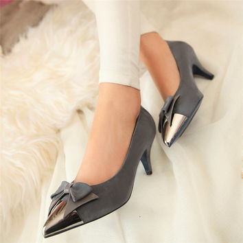 Womens Cap Toe Pointed Toe Pumps Bow Kitten Heel High Heels Tb0190