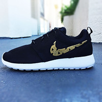 Womens Custom Nike Roshe Run shoes, Gold and Black tribal design, triangles, trendy design