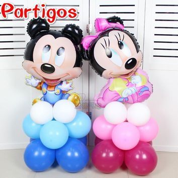 17pcs/lot Cute Mickey Minnie Mouse Upright Foil balloons baby shower party 10inch latex helium Globos Birthday Party Decoration