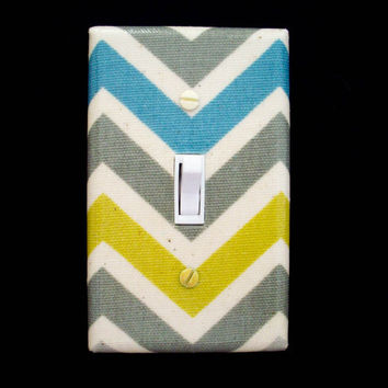 Light Switch Cover Chevron Zigzag Pattern Grays Cream Blue Green