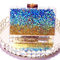 Glitter Beach Box Clutch