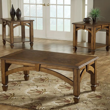 Brown Cherry Wood Arch Coffee Table Set