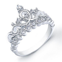 925 Sterling Silver Crown Ring / Princess Ring
