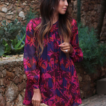 Red Floral Print Long Cuff Sleeve Mini Dress