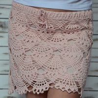 Crochet skirt, lace beach skirt, short pink skirt, boho beach skirt, summer skirt, lined lace skirt, mini skirt lace, beach coverup