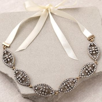 Breathtaking Cream and Gold Rhinestone Headband