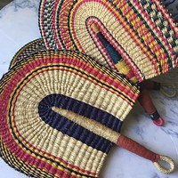 Vibrant Hand Woven African Fan with Leather Handles - Great Wall Decor or Beautiful Piece of Art
