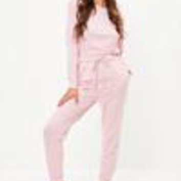 Missguided - Pink Long Sleeves Jumpsuit