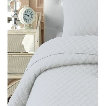 NC Home Fashions Contour solid color quilt set, Twin, Bright White - Walmart.com
