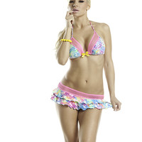 Fluorescents Tri Top with a  Double Ruffle Skirt