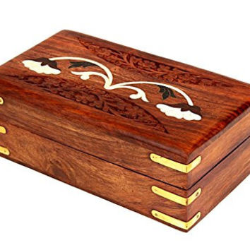 Hand Carved Wooden Jewelry Box Organizer with Floral Inlay, 6.5 x 4 inches
