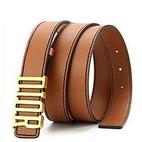 DIOR Popular Women Men Smooth Buckle Leather Belt Brown
