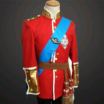UK singer red Royal Guard Service Blazer jacket costumes Men Studio court dress Fence prom formal party r dancer prom groom coat