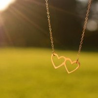 Valentine's Gift for Wife, Tiny double heart necklace, Gift for Her, Girlfriend Gift, Valentine's Day Gift, Love Gift