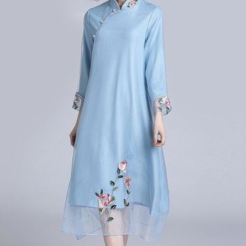 Floral Embroidered Organza Qipao Dress