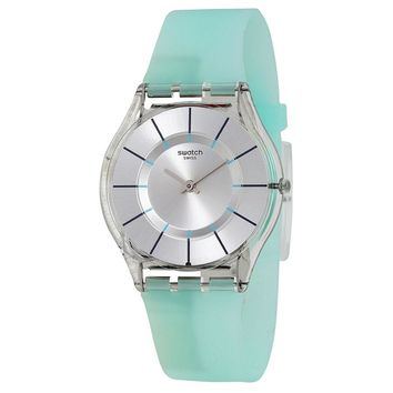 Swatch Summer Breeze Silver Dial Blue Silicone Ladies Watch SFK397