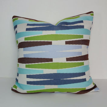 Mid Century Retro Pillow Cover, Designer Cushion Cover, Sunbrella, Alaxi, Blue, Brown, Green, Aqua, 20 x 20