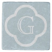Ice Blue Custom Monogram Stone Coaster