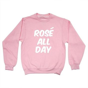 Rose All Day Women Fashion Pullover Sweatshirts Casual Tumblr Girls Tops Blusa Tumblr Girl Harajuku Long Sleecve Pink Hoodies