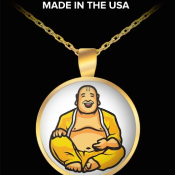 Happy Buddha Necklace - Laughing Buddhist Pendant Charm Gold Plated Jewelry - Maitreya Monk Statue