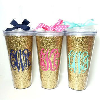 Gold glitter tumbler with lid. Monogram or name.  22 ounces with lid and straw.