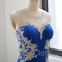 Mermaid Straps Lace Jersey Royal Blue Prom Dress, Evening Gown
