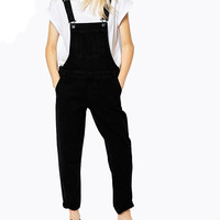 Black Plus Size Pocketed Overall