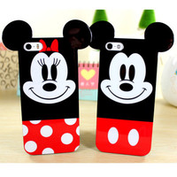 Fashion 3D Cute Soft TPU Rubber Cartoon MIckey Minnie Mouse Ears Back Case Cover Celular For iphone 4 4s 5 5s 6 6 plus Capa Para