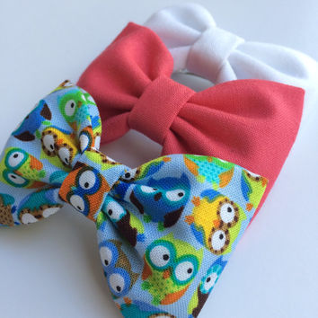 Berry, mini blue owl, and white denim bow lot from Seaside Sparrow.  This Seaside Sparrow set makes a perfect gift for her.