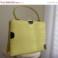 Vintage 1950s Leather Purse 50s Yellow Patent Leather Purse Black Circles Andrew Geller