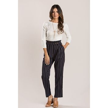 Kenna Navy Striped Pants