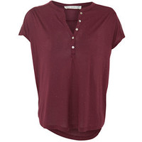 Deep Red Notch Neck T-Shirt