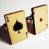 Ace of Spades and Ace of Hearts vintage style playing cards on silver cufflinks in gift box