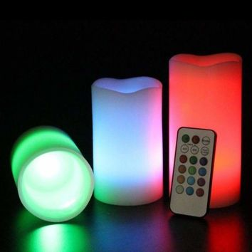 """3pc LED Flameless Candles 4"""" 5"""" 6"""" Pillar 12 Color Changing w/ Remote No Flame 696542728771"""