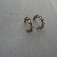Vintage Gold Tone Ring Post Earrings with Twisted Braid Wire Decor