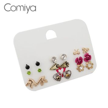 Comiya Flower Round Crystal Mosaic Vintafe Retro Rock Jewelry Women Joyas Stud Earrings Ornament Femme Earrings Set Statement