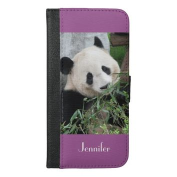 Panda iPhone 6 Plus Wallet Case Purple, Orchid