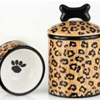 Leopard Bowls & Treat Jars-Doggie Couture Shop