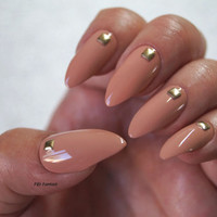 Nude stiletto nails, Nail designs, Nail art, Nails, Stiletto nails, False nails, Acrylic nails, Pointy nails, Fake nails, press on nails