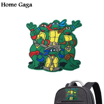 Homegaga Ninja turtle DIY Embroidered Iron On Patches Accessories Newest Popular Clothing Cartoon badges Appliques sticker D0750