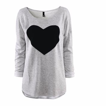 Women's Grey with Black Heart Printed Long Sleeve T-shirt Tops