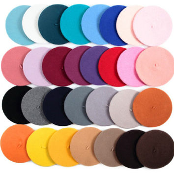 Hot Sell 2017 Cheap Fashion New Women Wool Solid Color Beret Female Bonnet Caps Winter All Matched Warm Walking Hat Cap 20 Color