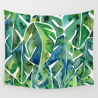 Split Leaf Philodendron – Green Wall Tapestry by Cat Coquillette