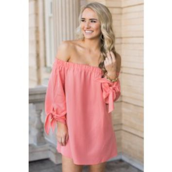 It Had To Be You Coral Off The Shoulder Tunic Dress